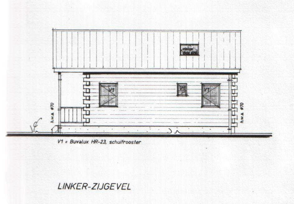 Bouwtekening model Recreatiebungalow linker zijgevel